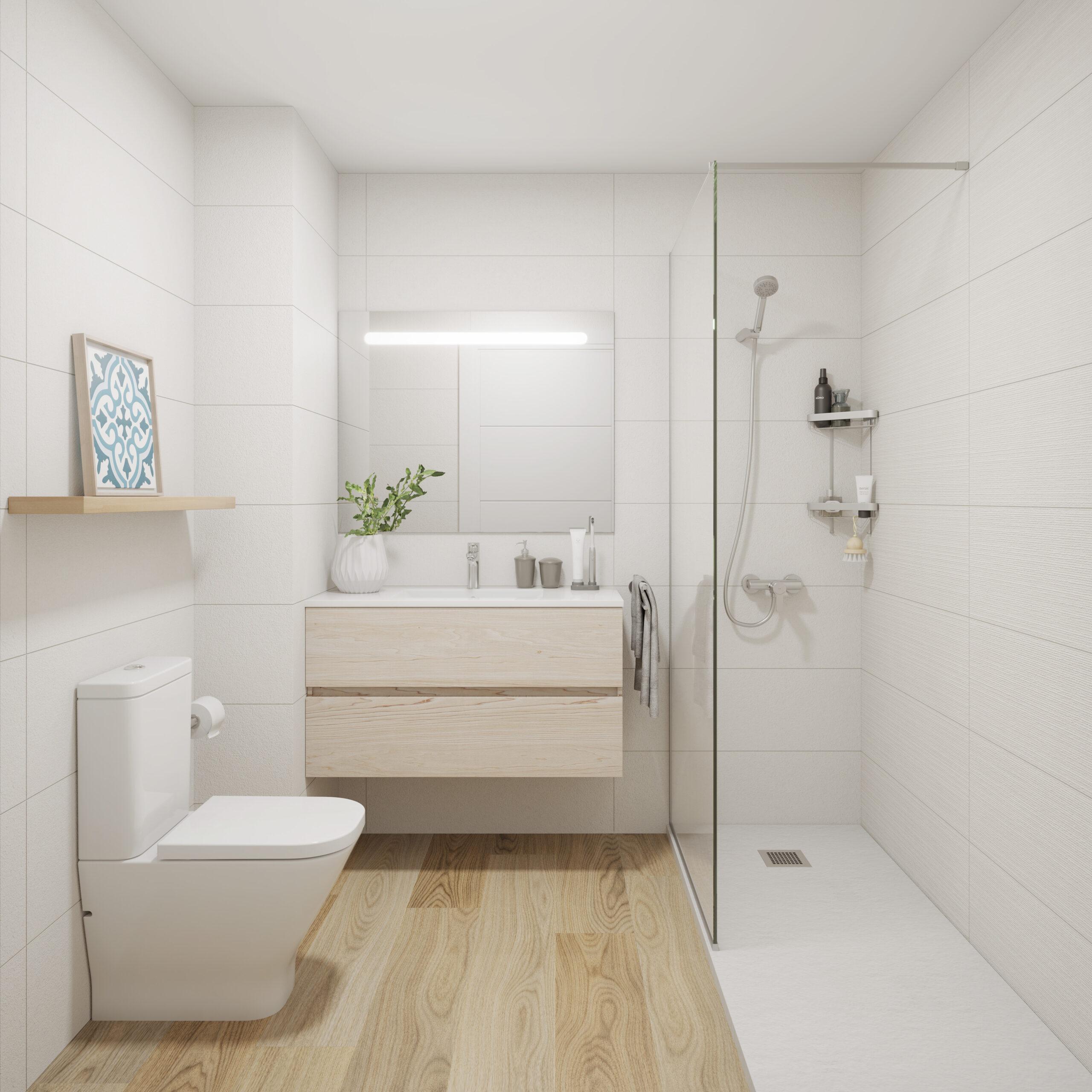 Cerámica blanca, mueble de baño natural